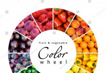 Colors wheel of fruits and vegetables